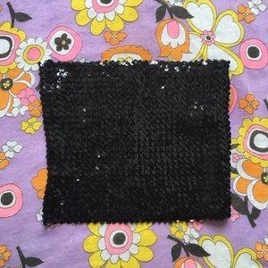 Tops - Vintage 1980s 90s black sequin tube crop top